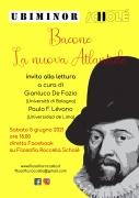"""Bacone, """"La nuova Atlantide"""": invito alla lettura a cura di De Fazio/Lévano. Diretta FB il 05/06 ore 18.00"""