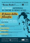 """22/07: Anteprima Scuola Estiva """"Remo Bodei"""" 2021. """"Il fuoco della filosofia"""""""